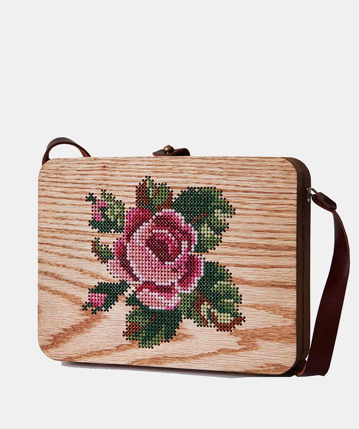 Large Rose Stitched Oak Wood Bag by Grav Grav - $480