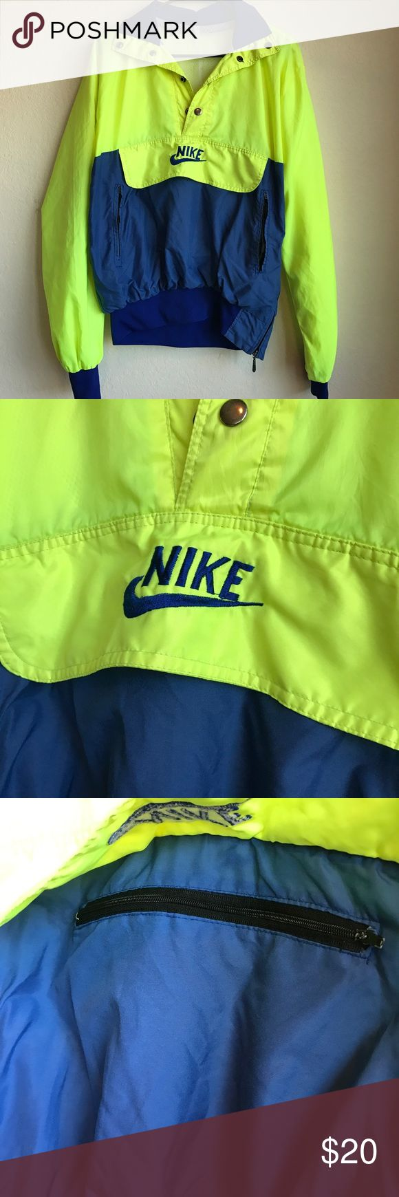 Vintage NIKE Jacket Size Medium/Large Not Size indicated (but it fits a medium/large best in my opinion), definitely shows some wear and has some spots. It's vintage Nike Jackets & Coats