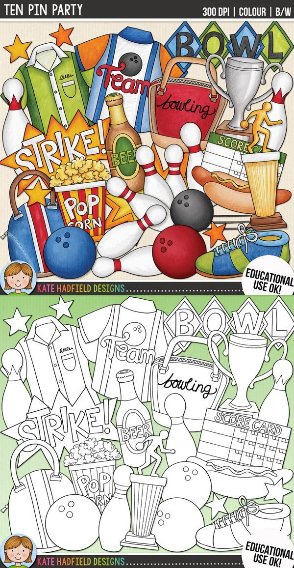 Bowling Clip Art Ten Pin Party With Images Easy Doodle Art Clip Art Art Bundle