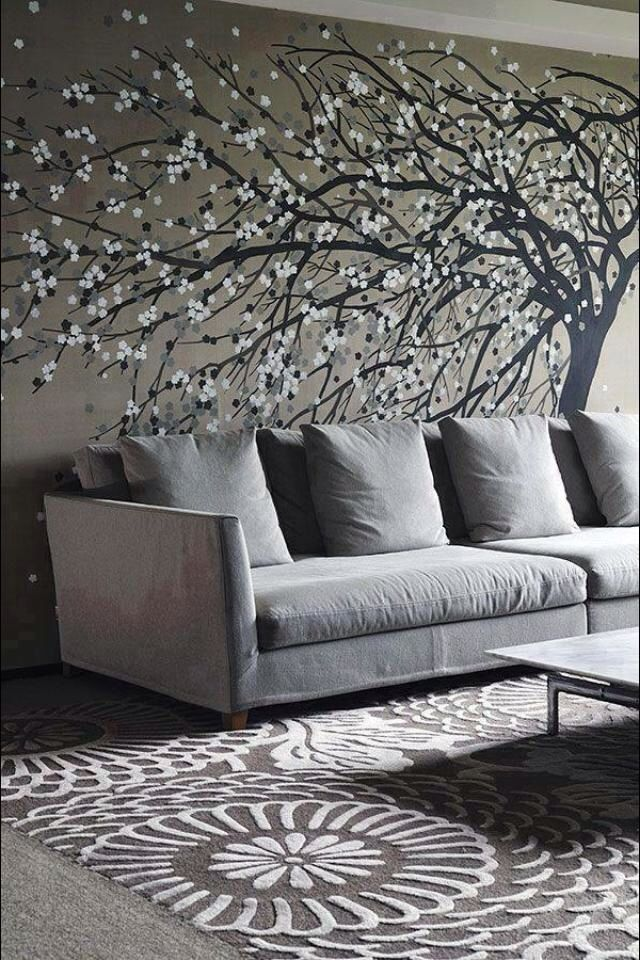 Tree with flowers wall painted accent.
