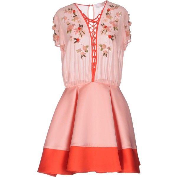 Elisabetta Franchi Gold Short Dress (€325) ❤ liked on Polyvore featuring dresses, pink, pink mini dress, short flare dress, beaded sequin dress, sequin mini dress and short dresses
