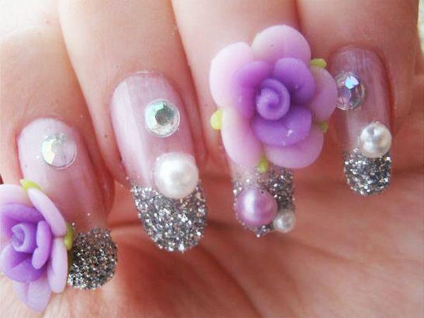 party nails | Purple 3D Party Nail Designs
