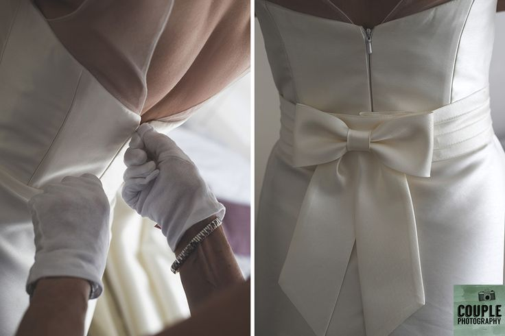 last minute adjustments to the dress. Real Wedding by Couple Photography