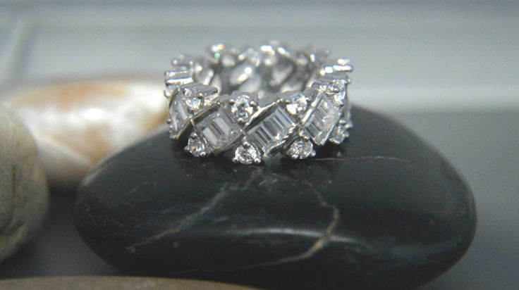 925 Sterling silver AAAAA grade baguette and round cubic zirconia eternity band by IsaBellaJewellery on Etsy