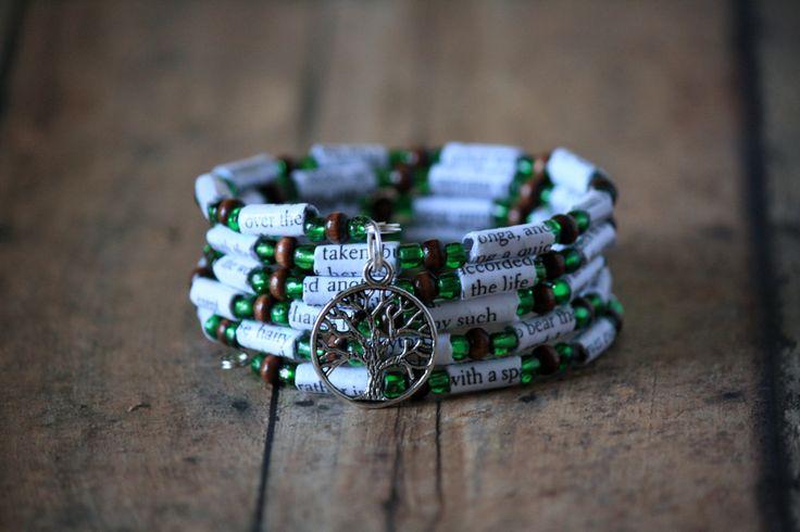 Tarzan Book Bead Spiral Wrap Charm Bracelet with Tree Charm by Geminivintagestore on Etsy