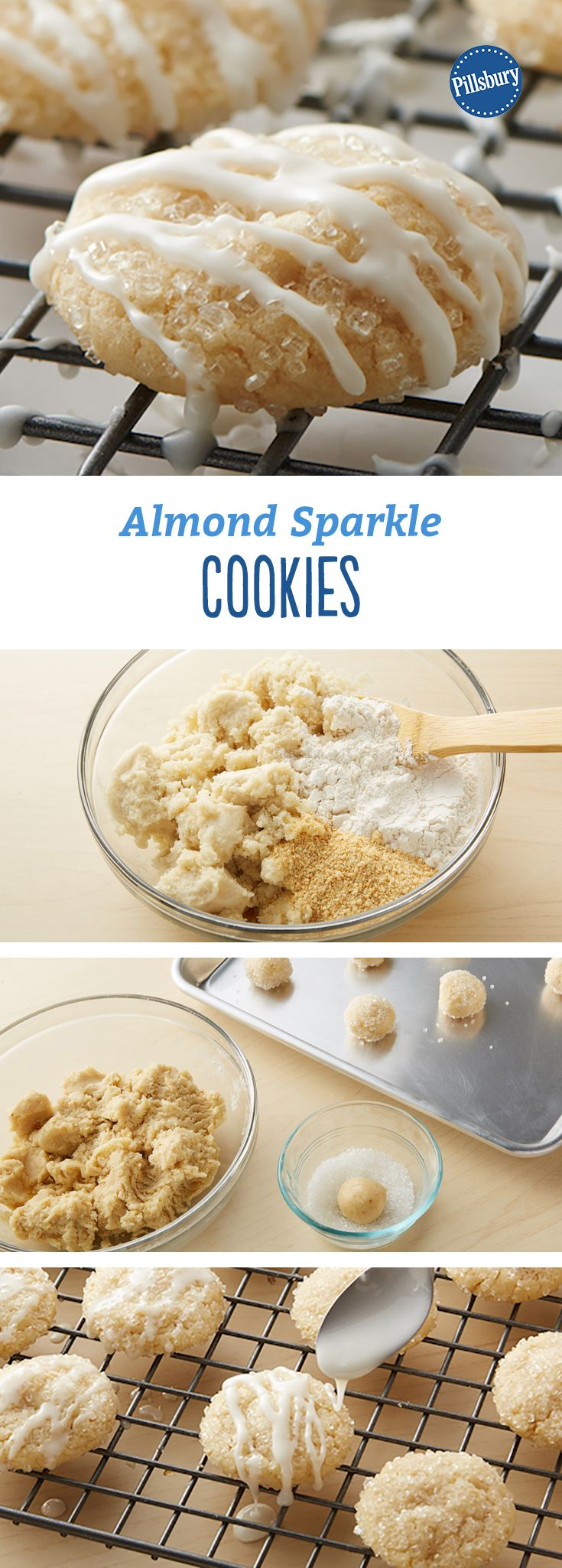 Almond Sparkle Cookies: These cute and easy holiday almond cookies sparkle like freshly fallen snow!