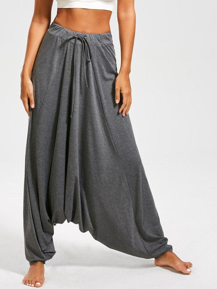 Drop Bottom Harem Pants with Drawstring - GRAY XL