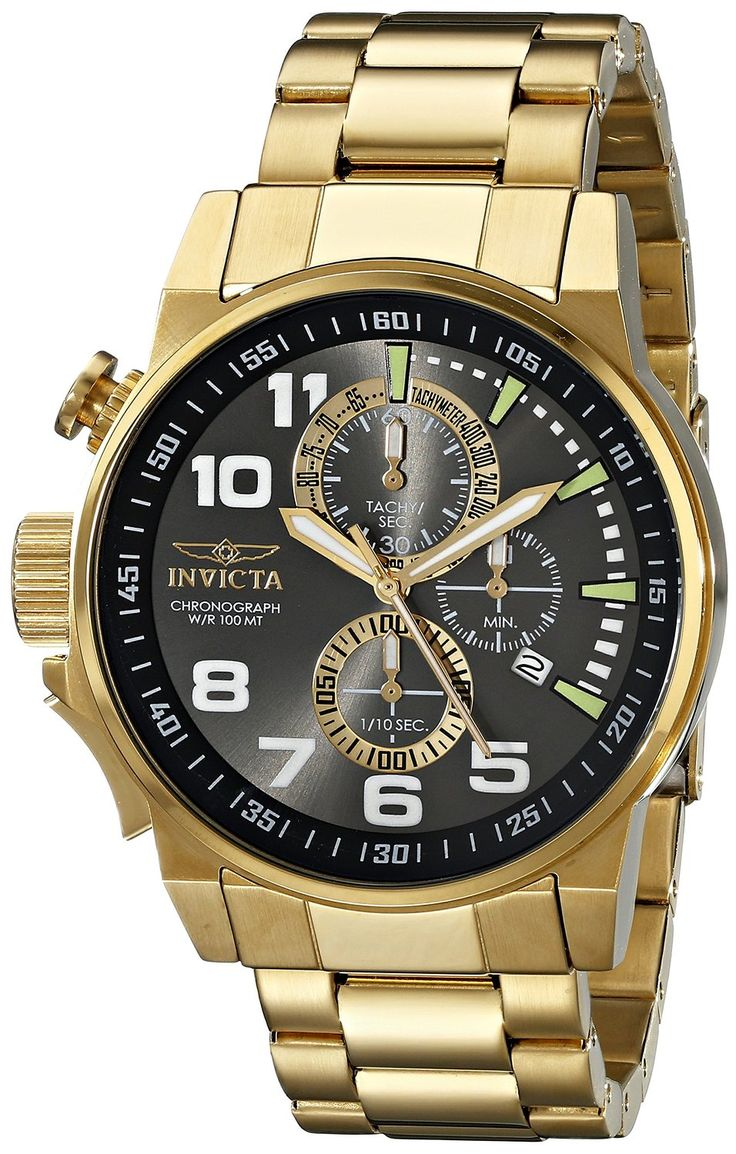 Invicta Men's 17416 I-Force 18K Gold Ion-Plated Stainless Steel Watch.  Bringing you the best luxury watches online at the most affordable prices for premium brand name watches: http://www.bestwatches1st.com/#!invicta-force-watch-collection/owrjm
