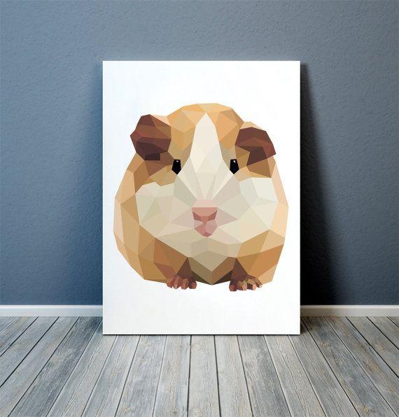 Meerschweinchen Poster bunte Dekor tierische Kunst Kindergarten Drucken TOA3