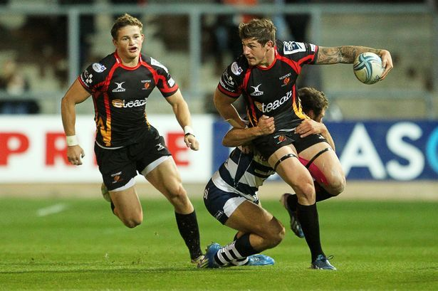 Hallam Amos of Newport Gwent Dragons and Ross Wardle of Newport Gwent Dragons #Dragons #Rugby
