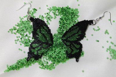 Orecchini Ali di Farfalla Peyote Fatto a Mano Handmade Butterfly Wings Earrings