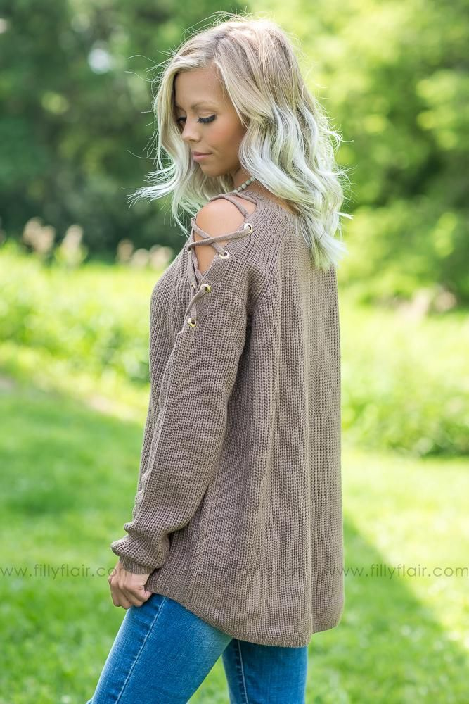 8fe48516fbf Meet Me Downtown Lace Up Cold Shoulder Sweater in Mocha