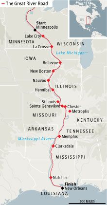 The '1 South' crossing 10 states along the Mississippi.