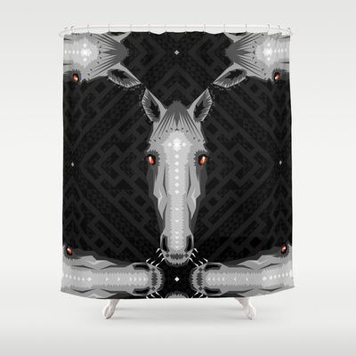 Horse Pattern - Black version Shower Curtain by chobopop - $68.00