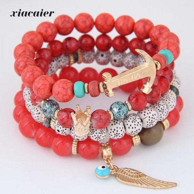 Xiacaier Beads Bracelets For Women. Multilayer Beaded Chain Vikings Anchor Charm Bracelets & Bangles Bohemia Vintage Jewelry