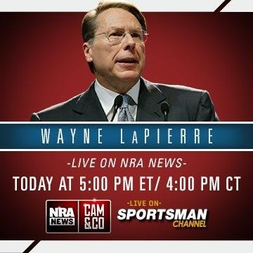 "NRA News Cam & Co ""Week of Straight Shooters"" comes to a close this evening with the National Rifle Association's Wayne LaPierre. Watch the interview live at 5 PM ET/ 4 PM CT … only on The Sportsman Channel. Go to http://www.thesportsmanchannel.com/ and enter in your zip code to see your local channel information and join the #Gunversation @SPORTSMANChnl and @CamAndCompany."