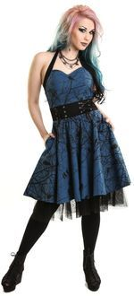 Gotické šaty dámské krátké Dark Crow modré
