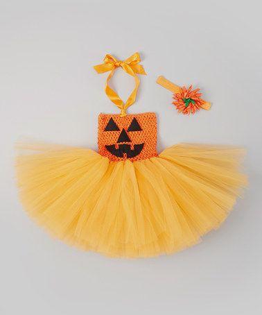 Take a look at this Orange Jack-O'-Lantern Tutu Dress Set  - Infant & Toddler by Tutu Mania on #zulily today!