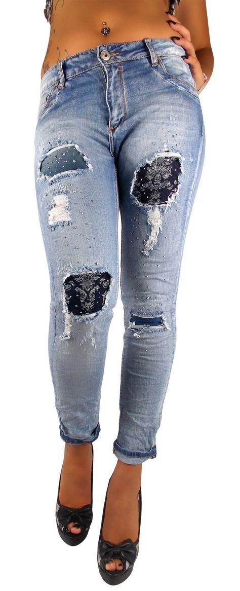 Distressed Damen Jeanshose Ornament-Flicken Stretch blau used extrem zerfranst