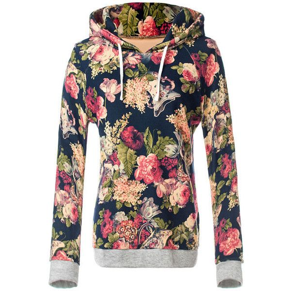 Drawstring Floral Printed Rib Knit Cuffs Hoodie ($25) ❤ liked on Polyvore featuring tops, hoodies, long tops, sleeve hoodie, drawstring hoodie, floral hoodie and floral tops