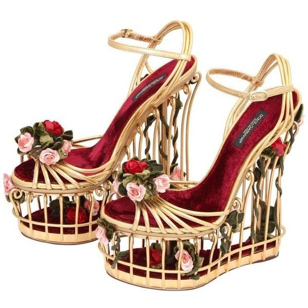 Preowned Very Rare Dolce & Gabbana Runway Cage Heel Shoes Piece Of Art! featuring polyvore women's fashion shoes pumps heels multiple caged shoes heel pump cage heel shoes pre owned shoes velvet pumps