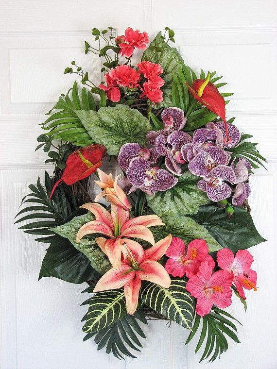 Summer Wreath Tropical Wreath Purple And Orange Spring Wreath