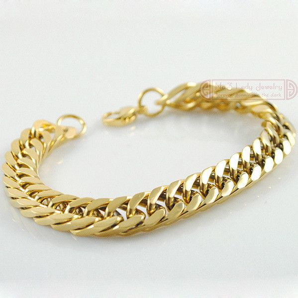 18k Gold Plated Stainless Steel Bracelets Curb Cuban Chain Men Bracelet Jewelry pulseira masculina , Christmas Gift WB003