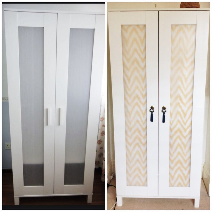 Budget Ikea hack complete - Aneboda wardrobe. Fabric from www.fabrictraders.com.au Handles from Bunnings and tassels from Lincraft.