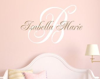 Name Wall Decals Monogram Wall Decals Vinyl Wall by wallartsy