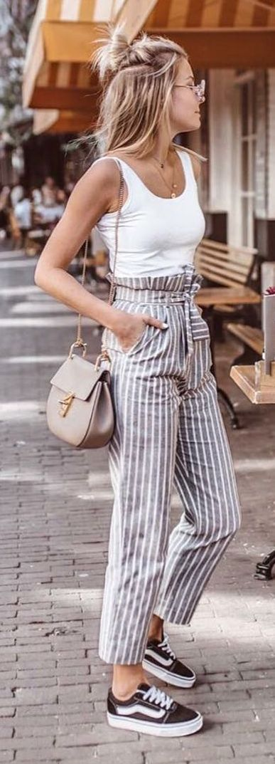 Striped linen pants for spring