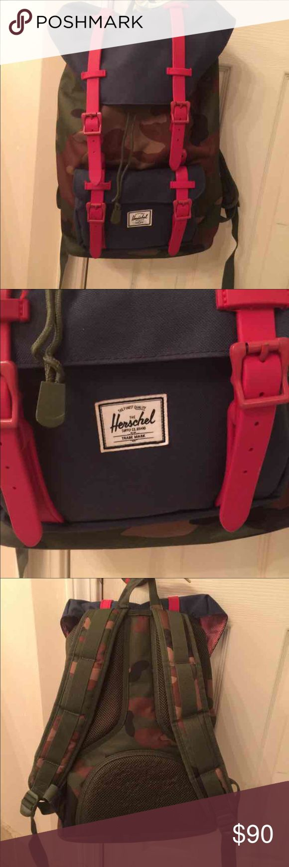 Herschel Camo Backpack Lightly used. Like new on the inside. Few snags in the back as shown in the last picture. No trades. Price is firm. Herschel Supply Company Bags Backpacks