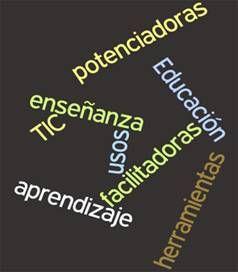 Nube de etiquetas asociada a educación y TIC