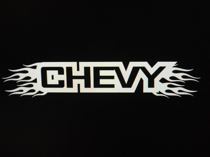 Chevy Letters With Flames Vehicle Window Decal Sticker 4
