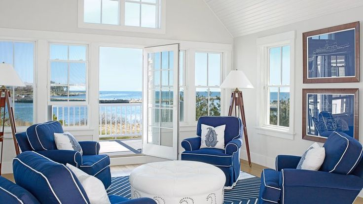 "Boughton utilized outdoor fabrics throughout, like the marine vinyl that covers the ottoman in the carriage house sitting room. ""It has the same kind of graining as calfskin, but doesn't wear as easily,"" she says. She had the rug made into a bull's-eye pa"