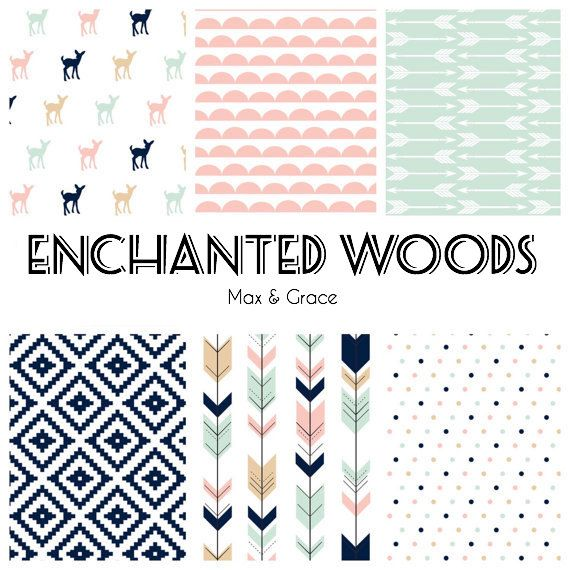 Enchanted Woods. You Design. Blush Mint and Navy by maxandgrace