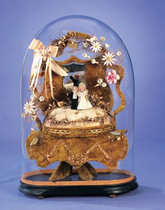 Theriault's Antique Doll Auctions -  French Globe de Mariee with Tiny Bisque Bride and Groom - circa 1900
