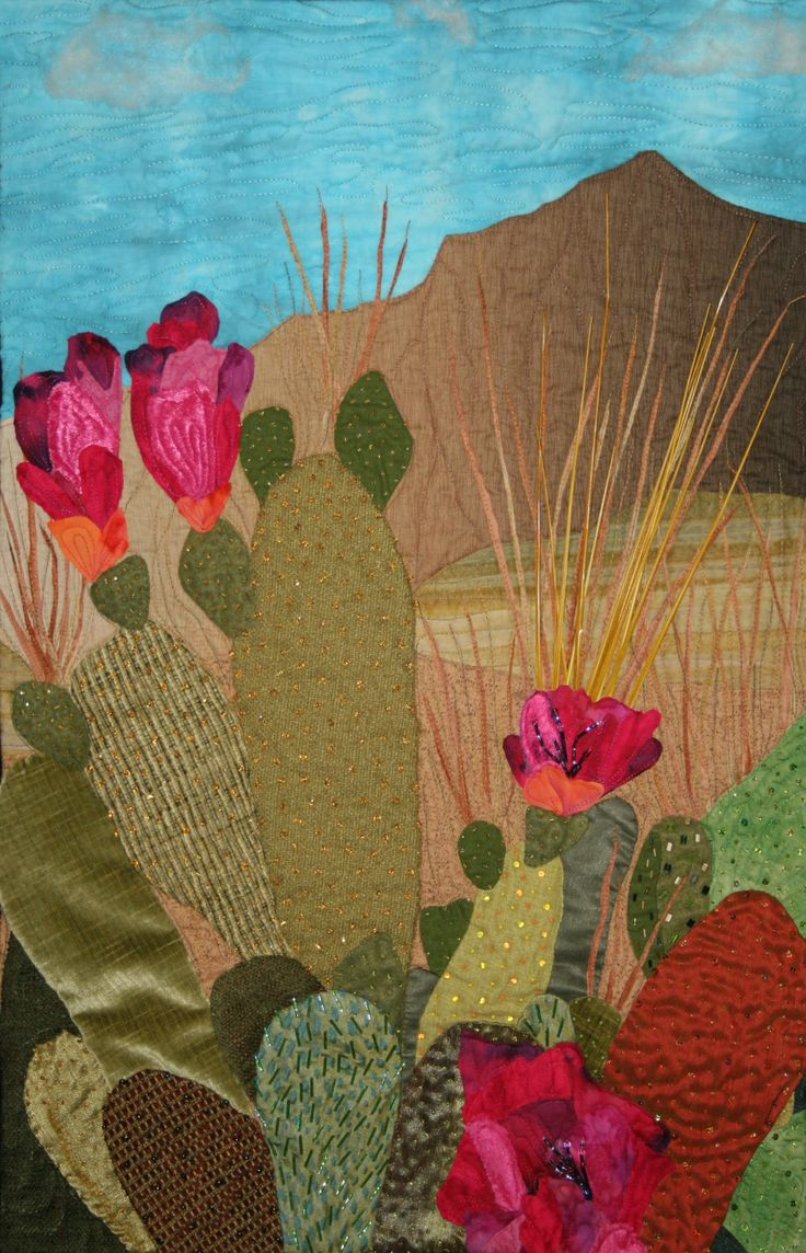 Anza-Borrego Desert State Park, art quilt by Blossom Hamusek (California). The quilt was hand-appliqued, machine-quilted and embellished with wool roving, beads and artificial grasses.