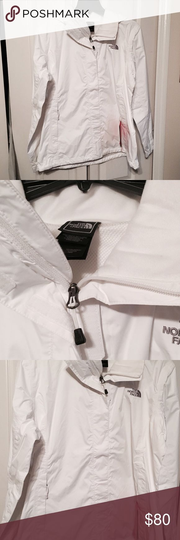 Ladies North Face White Rain Jacket with Hoodie XL NWT Ladies North Face Jacket XL The North Face Jackets & Coats
