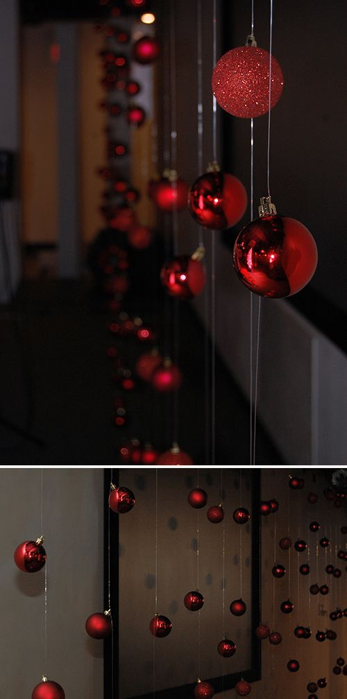 lots of great DIY holiday party decor. Id dip string in mod podge then glitter!?