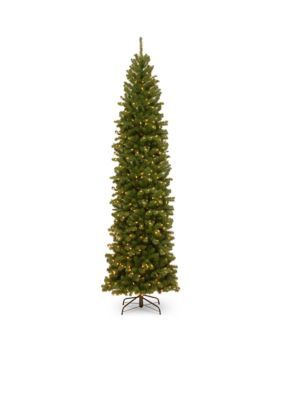 National Tree Company 10-Ft. North Valley Spruce Pencil Slim Tree With Clear Lights - Green - 120