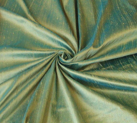 Green Turquoise iridescent 100% Dupioni Silk by DesignersNeeds