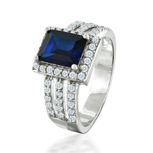 Bling Jewelry Sterling Silver Art Deco Blue Sapphire Color CZ Cocktail Ring