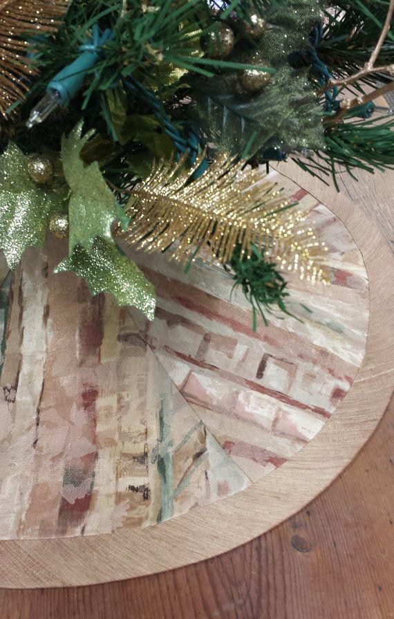 23 Mini-Tabletop Christmas Tree Skirt: shades of by FeeneyLane