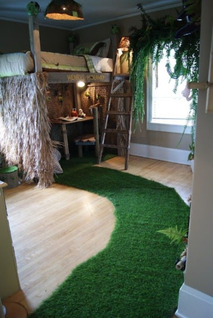 Kids Bedroom, Dark Green Grass Inspired Carpet For Jungle Themed Children's Room With Unique Bed Frame And Wooden Interior: Jungle Themed Children's Room for Fun Decoration