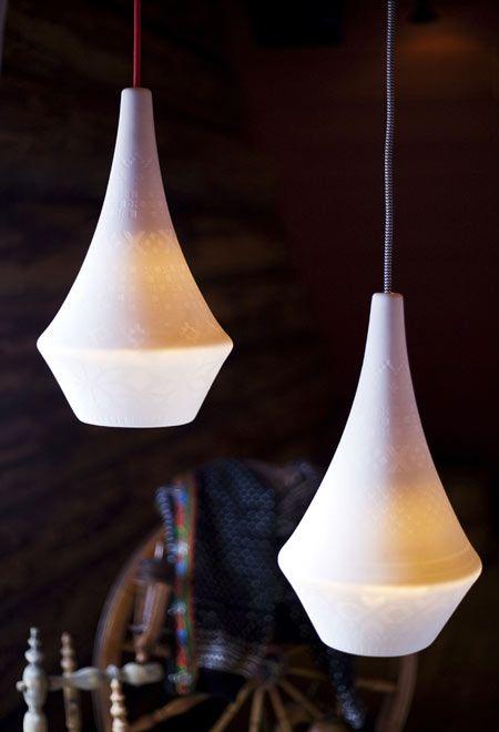 embossed ceramic lamps: Norwegian designers Vibeke Skar and Ida Noemi Vidal presented ceramic pendant lights with embossed surfaces..