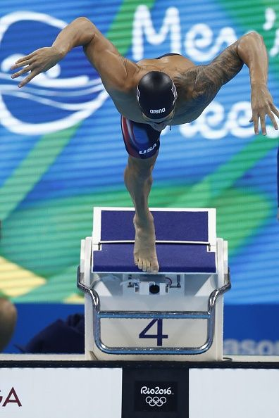 #RIO2016 USA's Caeleb Dressel competes in the Men's 100m Freestyle Semifinal during the swimming event at the Rio 2016 Olympic Games at the Olympic Aquatics...