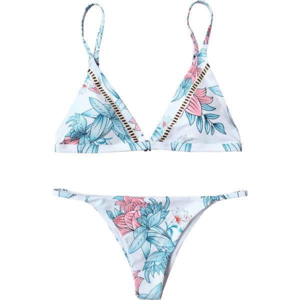 Padded Cami Floral Thong Bathing Suit (235 EGP) ❤ liked on Polyvore featuring swimwear, bikinis, bathing suits, bikini swimsuit, floral bikini, bathing suits bikini, white swimsuits and floral swimsuit