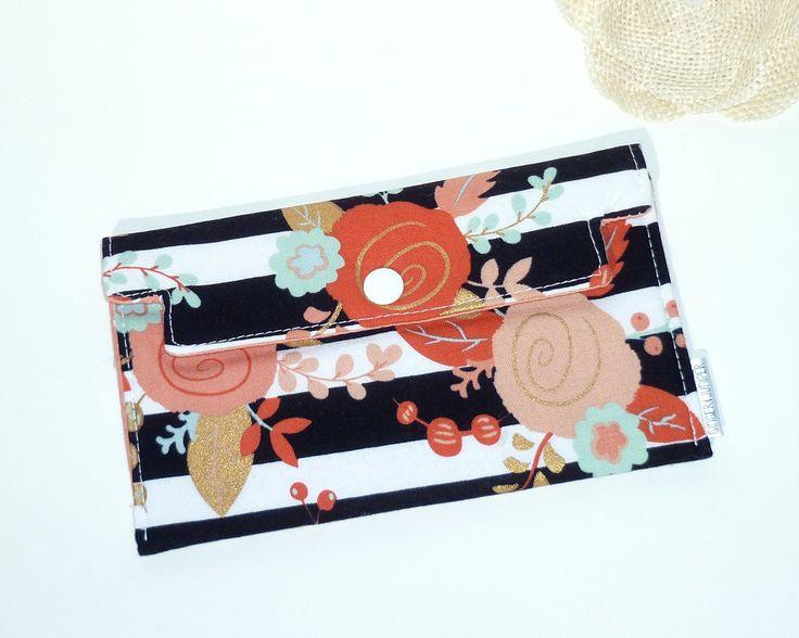 Coupon Holder / Cash Wallet / Receipt Holder - Black & White Stripe Floral in Mint, Coral, Gold