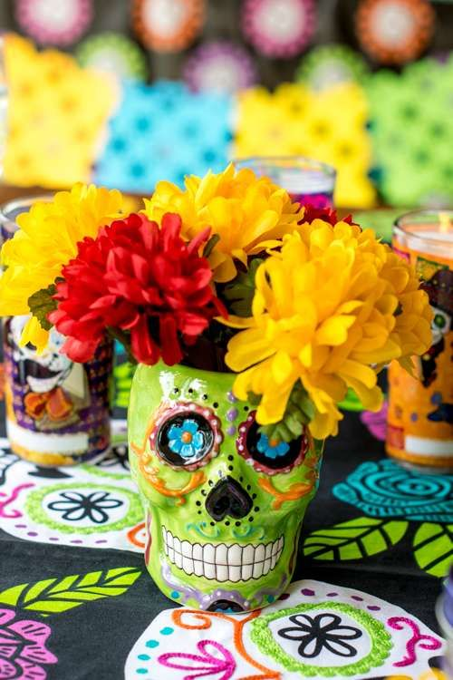 Loving this Day of the Dead centerpiece! See more party ideas and share yours at CatchMyParty.com
