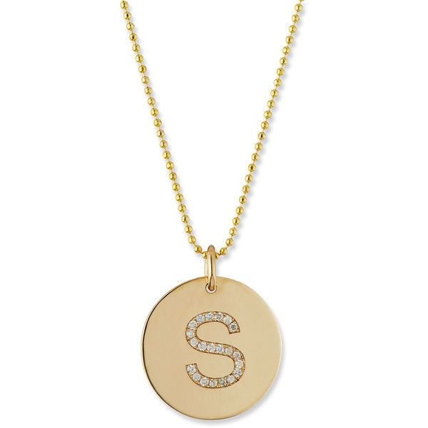 Zoe Chicco Pav& Diamond Initial Disc Pendant Necklace (€1.130) ❤ liked on Polyvore featuring jewelry, necklaces, initial h, initial disc necklace, initial pendant necklaces, diamond pendant, diamond letter necklace and disc pendant necklace